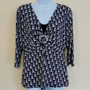Black & White east 5th Coin Print Blouse Size M